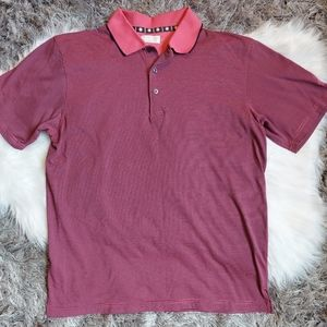 New Men's pink blue striped polo shirt size large